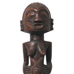 an old african female statue figure with display base buyu congo drc #13