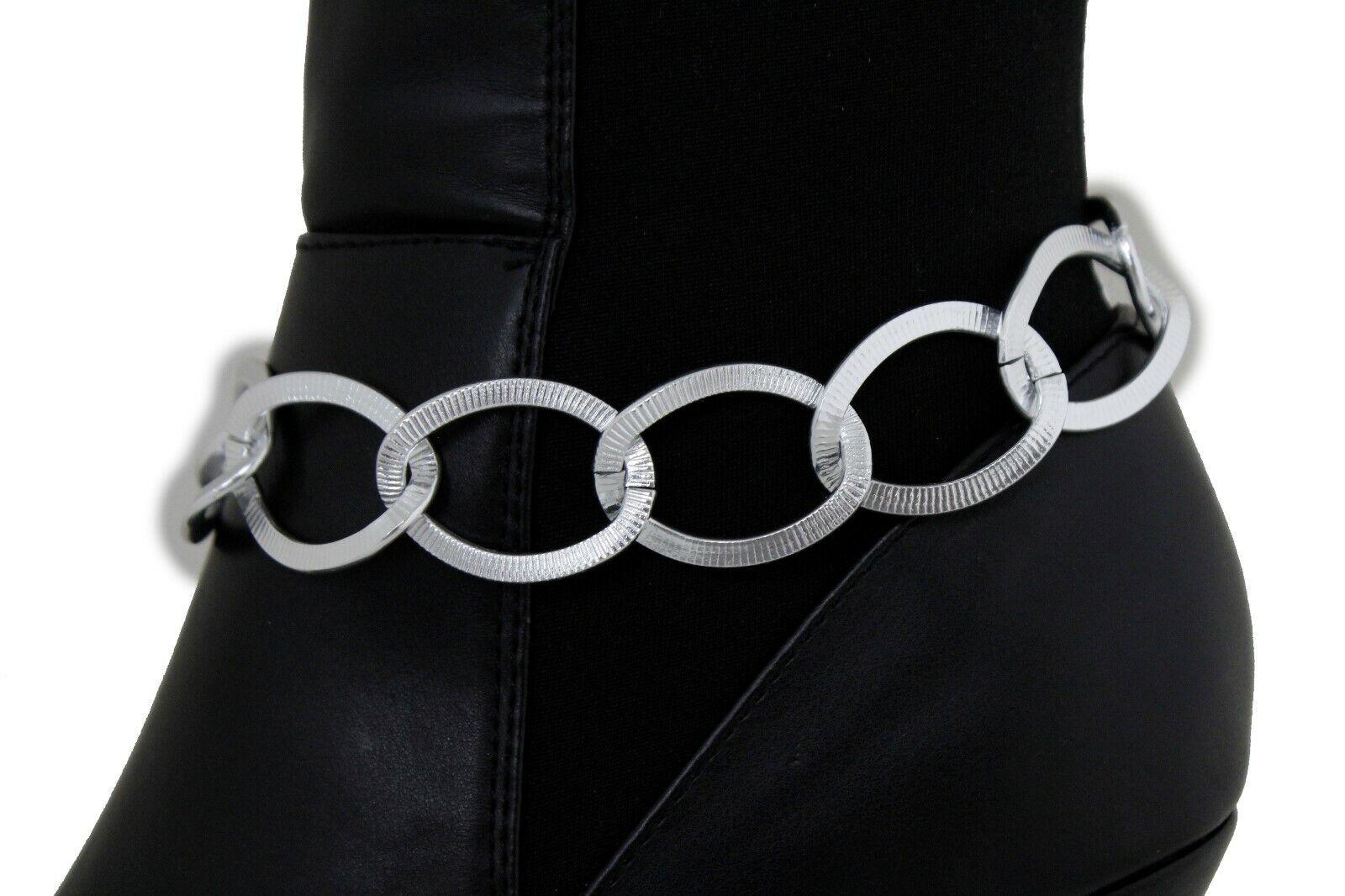 Sexy Women Silver Metal Boot Chain Bling Chunky Links Bracelet Shoe Charm Strap