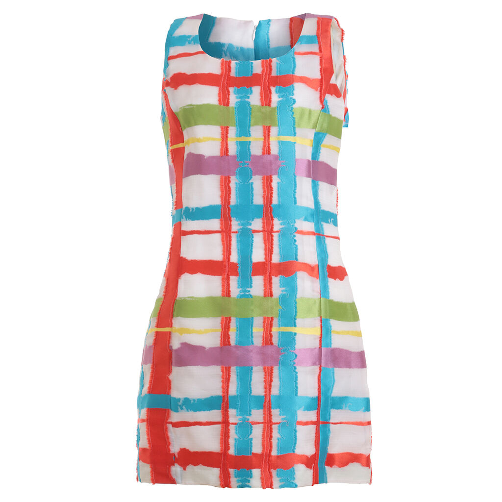ANDREW GN Multi Farbe block 2015 runaway collection dress Sz F 40  3280 NEW
