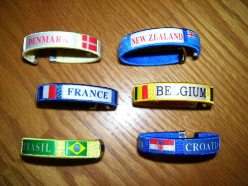 SOCCER FOOTBALL OLYMPICS WRISTBAND BANGLE Many teams and varieties have a look!