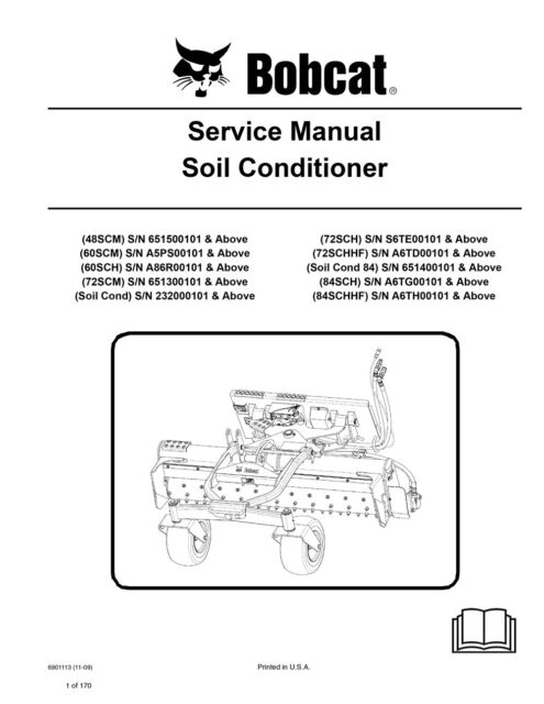new bobcat soil conditioner repair service manual 6901113 free shipping