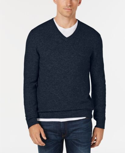 Club Room Men/'s Navy Heather Blue 100/% Cashmere V-Neck Pullover Sweater