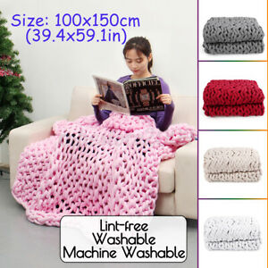40x60in-Washable-Chunky-Knitted-Blanket-Soft-Warm-Thick-Yarn-Bulky-Cotton-Throw