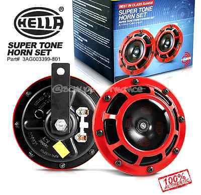 2PC RED SUPER TONE SUPER LOUD HORN KIT MESH GRILLES UNIVERSAL 12V HELLA BRAND