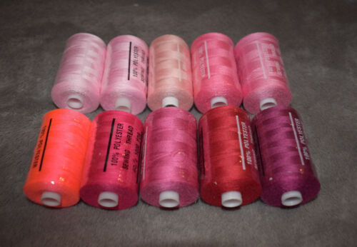 1000 Yard //914 m Nähgarn Polyester 40S//2 120 in Rosa Pink Neon Rot 0,13€//100m