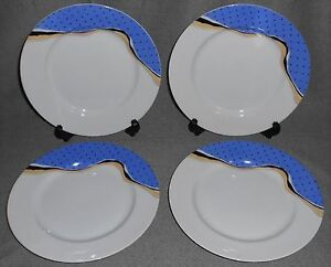 Image is loading Set-4-Arita-Tondo-Designs-MATIERE-PATTERN-Salad- & Set (4) Arita Tondo Designs MATIERE PATTERN Salad Plates JAPAN Fiona ...