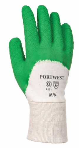 Green White Portwest A171 Latex Open Back Crinkle Safety Work Wear Gloves