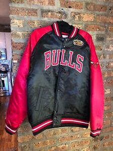 Mitchell /& Ness Tough Season Satin College Jacket Chicago Bulls