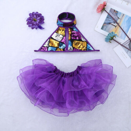 Girls Sequined Jazz Modern Ballroom Dance Dress Child Performing Costume Outfit