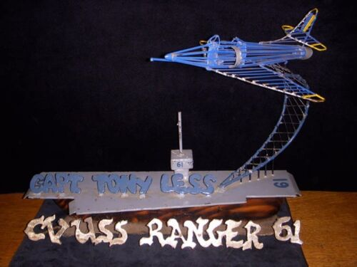 198283 Desk Plaque Sculpture CO USS Ranger CV61 Capt. Tony Less later VADM