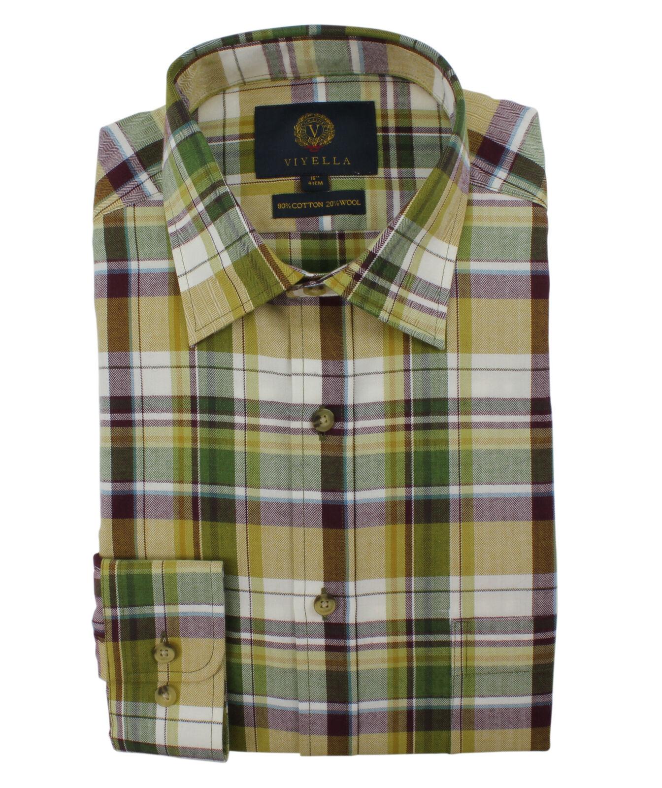 f1730745 Viyella gold with Purple Herringbone Plaid 20 Cotton Blend Shirt Wool 80  nsnpmz1448-Casual Button-Down Shirts