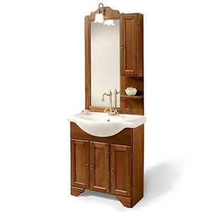Dettagli su Mobile bagno legno arte povera lavabo da 75 cm con pensile noce  arredo classico
