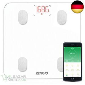 RENPHO-Koerperfettwaage-Bluetooth-Personenwaage-mit-APP-Smart-digitale-Weiss
