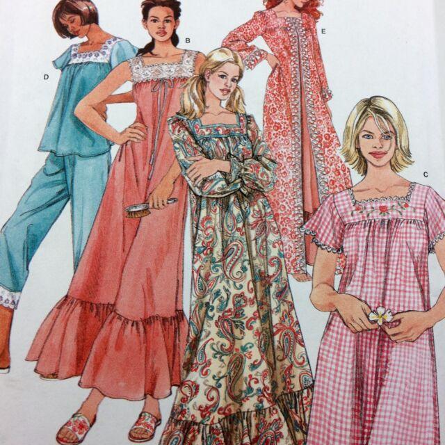 Simplicity 4048 Nightgown in 2 Lengths Robe Pajamas Pattern Uncut Sz 6-16 PJs