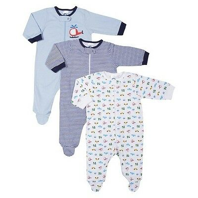 Gerber® Newborn Boys' 3 Pack Long-sleeve Transportation Sleep N' Play - Blue