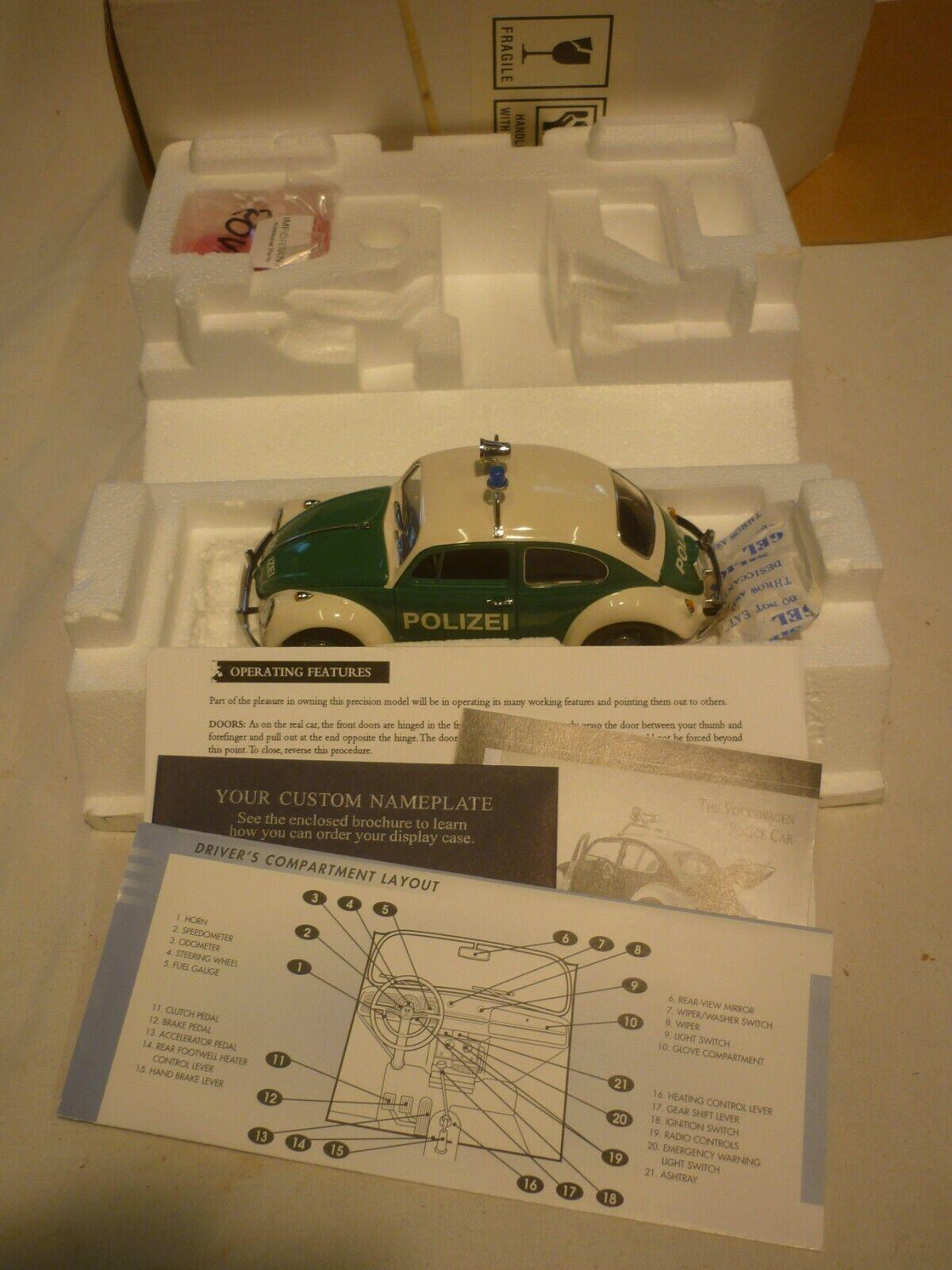 Un Franklin Comme neuf scale model of a 1967 Volkswagen Beetle de police, Boîte Et Papiers