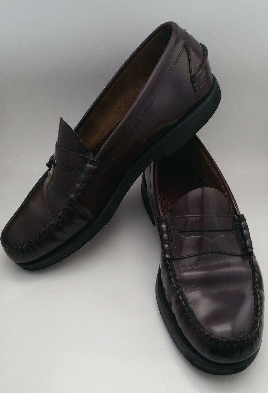 LL Bean Penny Loafers Leather Burgundy Slip On Loafer shoes Mens 12 D 250943