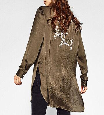 Attento Zara Camicia Giacca Camicia Ricamo Kimono Long Embroidered Blouse Shirt Jacket S-mostra Il Titolo Originale