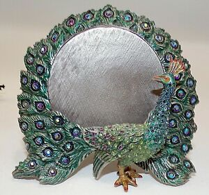 JAY-STRONGWATER-GREEN-PEACOCK-PICTURE-FRAME-W-SWAROVSKI-CRYSTALS