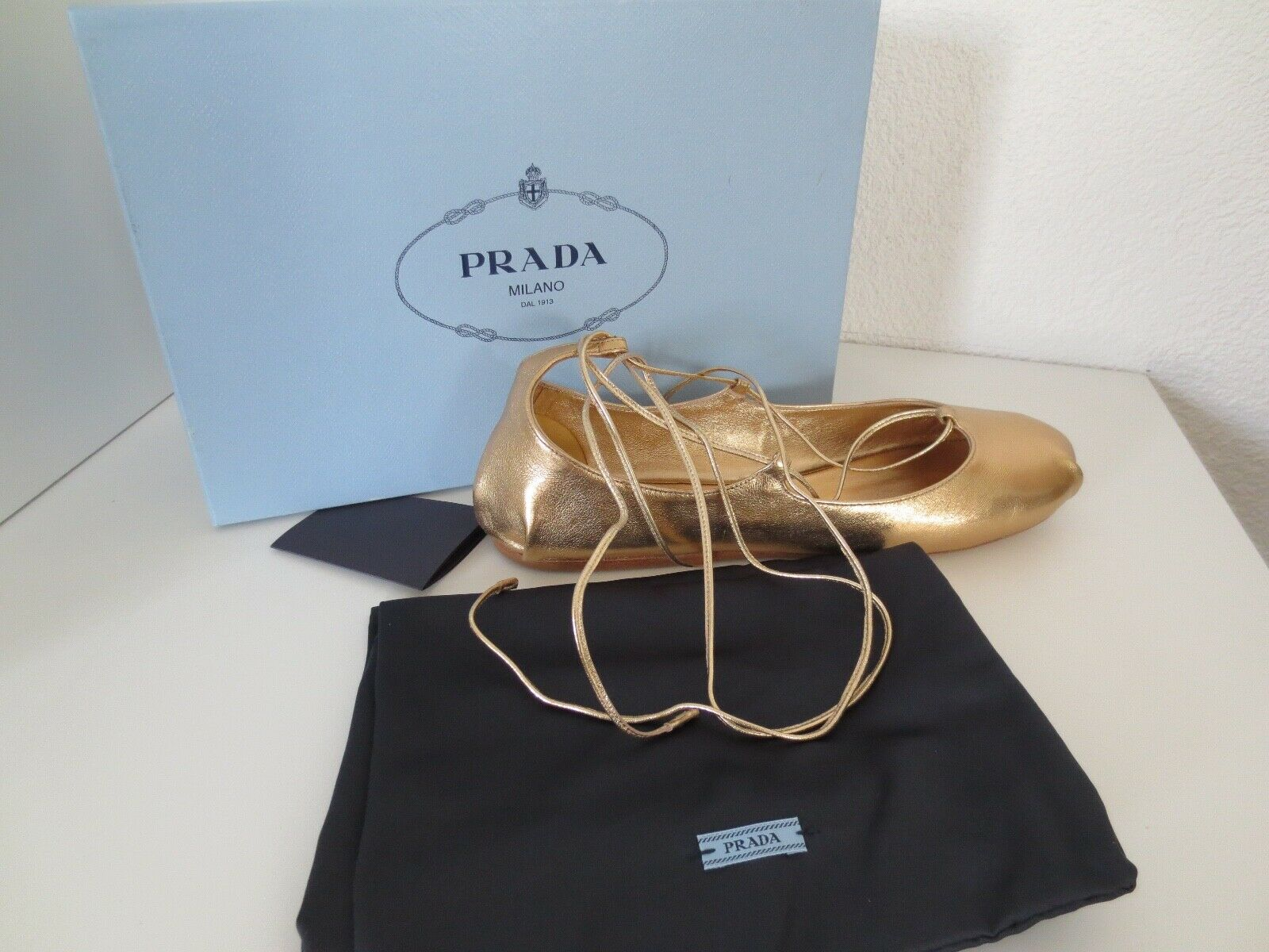 Prada señora bailarinas talla 39,5 Nappa Silk cuero oro zapatos zapatos zapatos bailarina nuevo e6d274