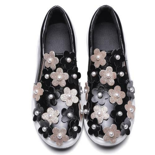 Fashion Womens Floral Flowers Pearls Sneakers Sport Athletic Shoes Flats Slip On