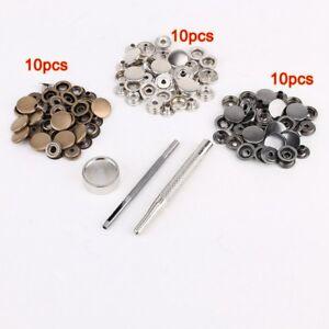 30pcs 15mm boton metal + conjunto herramientas para articulos cuero X4U9