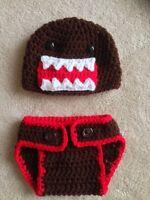 Hand Crochet Baby Domo Kun Photo Prop Diaper Cover And Hat -