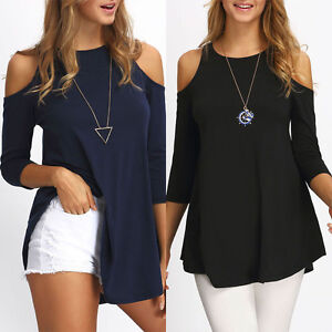 sexy damen schulterfrei 3 4 arm tops blusen lang t shirts. Black Bedroom Furniture Sets. Home Design Ideas