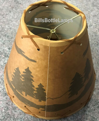 """Coyote Dog Table Light Cabin Cottage LAMP SHADE Clip-On Bulb Style 9/"""" Laced Cone"""