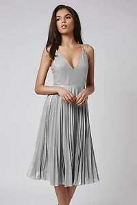 6 2 Dress Prom 34 Party Us Topshop Eu Plunge Bridal Uk Silver Bnwt Dress Running OnAAzWT