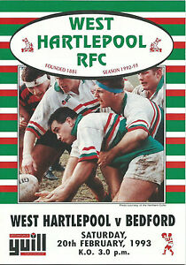 WEST HARTLEPOOL RUGBY v BEDFORD 20 FEBRUARY 1993 - North Shields, United Kingdom - WEST HARTLEPOOL RUGBY v BEDFORD 20 FEBRUARY 1993 - North Shields, United Kingdom