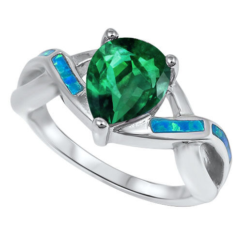 Drop Pear Cut Promise Infinity Celtic Birthstone w Blue Opal Inlay Silver Ring