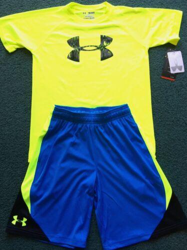 NWT Boys Under Armour L Neon Yellow//Lt Blue Big Logo Heat Gear Shorts Set YLG