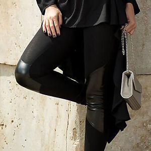 By-Alina-Mexton-Damen-Leggings-Lederlook-Huefthose-Stoffhose-Roehrenhose-XS