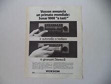 advertising Pubblicità 1974 AUTORADIO VOXSON STEREO 8
