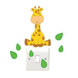 Giraffe-and-Leaves-Light-Switch-Wall-Sticker-Children-039-s-Bedroom-Safari-Animal