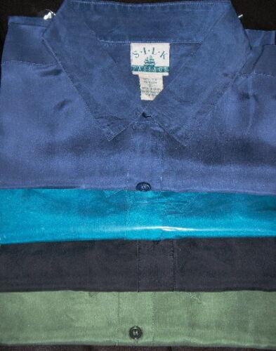 eher XXL XL, Designer Seidenhemden 1//2Arm reiner Seide 3 Farbe