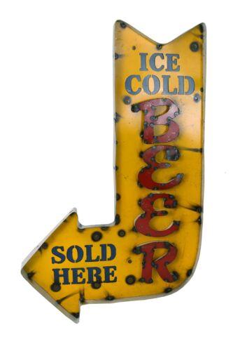 Ice Cold Beer Sold Here Arrow Sign-Metal-Mexican Folk Art-Restaurant Bar-Arrow