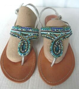 Steve Madden Women's Leather Blue / Silver  Beaded  Thong Sandals Size 9.5 M