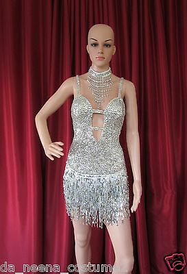 DA NEENA R4 Sissy Girl Latin Salsa Dance Pageant Sequin Dress  M
