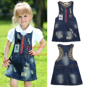 7546d70fad89 Image is loading Girls-Dungaree-Pinafore-Dress -Kids-Sleeveless-Casual-Holiday-