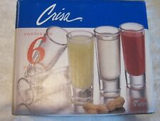 CRISA, set of 6 shooter clear glasses, 2 0z., complete with box