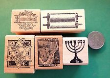 Judaica/Jewish Rubber Stamps, Five Wood Mounted on Economy Mounts