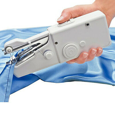 MINI PORTABLE CORDLESS HANDHELD SINGLE STITCH FABRIC SEWING MACHINE HOME TRAVEL