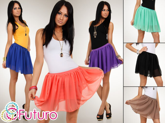 Sexy Waist Flippy Flared Women's Skirt Chiffon Summer Colors Size 8-12 FA11