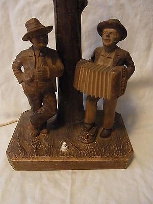 Vintage German Carved Wood Desk Lamp 2 Man on a Tree Musician  #<