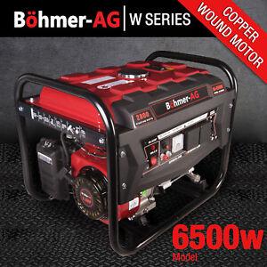 Portable-Petrol-Generator-6500w-Bohmer-Electric-8HP-3-4KVA-Quiet-Camping-Power