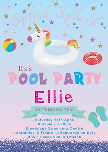 Image Is Loading UNICORN POOL PARTY PERSONALISED BIRTHDAY INVITATION GIRL DAUGHTER