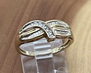 Amazing 10K Yellow Gold Channel Set Natural Diamond Journey Band Ring Size 7.5