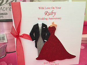 Handmade personalised wedding anniversary card ruby wedding 40th mum image is loading handmade personalised wedding anniversary card ruby wedding 40th thecheapjerseys Choice Image